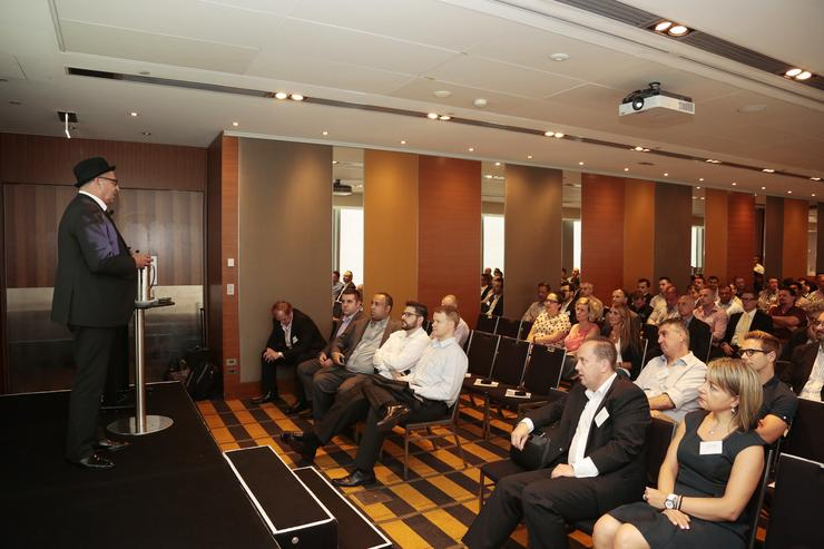 Aria Technologies national sales and marketing manager, Peter Williamson, presenting at the Sydney event.