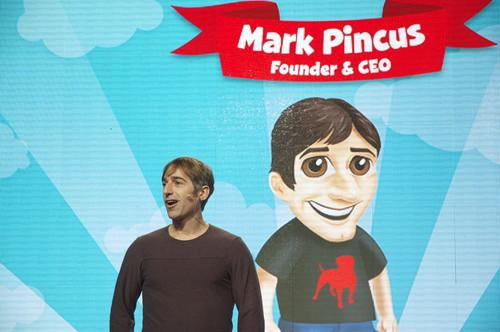 Zinga's executives each have an avatar that looks uncannily like them. Here's CEO Mark Pincus in front of his.