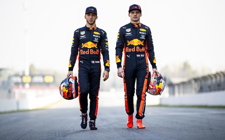 Drivers Pierre Gasly and Max Verstappen of Red Bull Racing