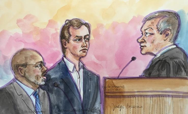 Anthony Levandowski appears in court along with attorney Ismail Ramsey (L) before Judge Nathanael Cousins (R) in a court sketch