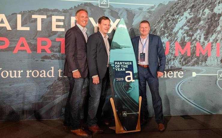 Alteryx's Steve Waldon and Josh Lewis and RXP Services' Ross Fielding