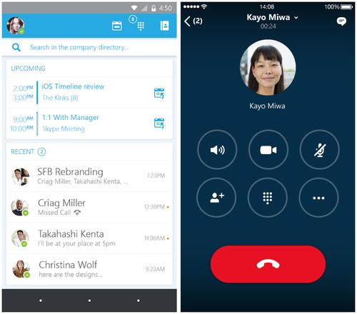 Skype for Business's new interface on iOS and Android