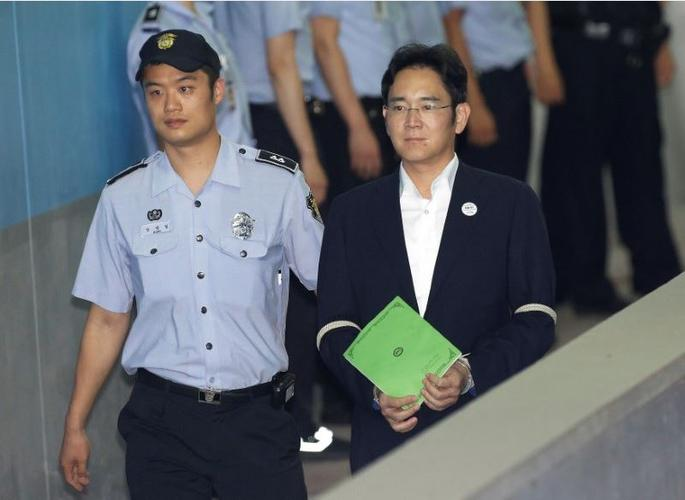 Lee Jae-yong vice chairman of Samsung Electronics Co. arrives for his trial at the Seoul Central District Court in Seoul South Korea
