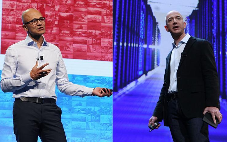 Satya Nadella (Microsoft) and Jeff Bezos (AWS)