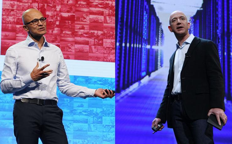Satya Nadella (CEO - Microsoft) and Jeff Bezos (CEO - Amazon)