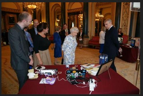 Queen Elizabeth II is shown the Raspberry Pi.