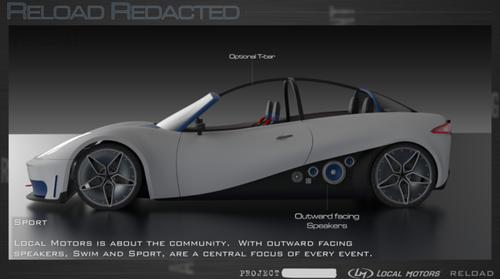 "A computer-generated image of the ""Sport"" model of the ReLoad Redacted 3D-printed car."
