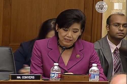 U.S. Representative Judy Chu, a California Democrat, talks about potential privacy and security problems with the Internet of Things during a House subcommittee hearing Wednesday, July 29, 2015.