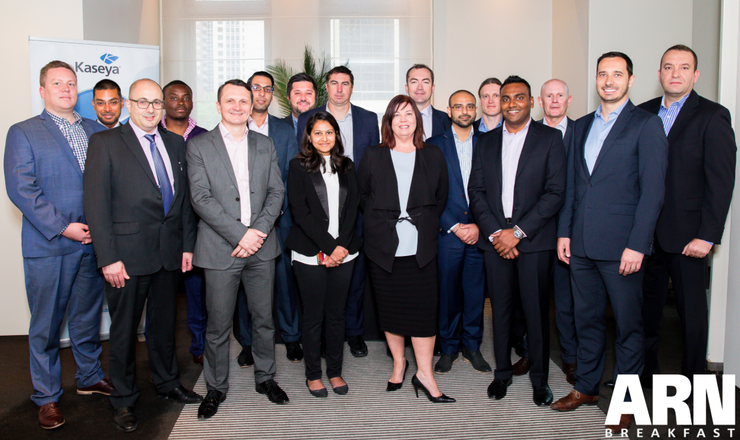 (L-R) Daniel Johns (ASI Solutions), Joseph Vijay (NTT Communications), Paul Dovas (Adatos), Kabie Senga (Net Affinity Managed Solutions), Nick Sampson (Enablis), Demetrios Georgiou (Webroot), Pieter DeGunst (Tecala Group), Craig Sims (CCNA), Hafizah Osman (ARN), Joy McKay (NTT Communications), Chris Greatrex (Artis Group), Savraj Narula (Allcom Networks), Craig Allen (Kaseya), Muralee Kanagaratnam (APC by Schneider Electric), Kirk Jones (AC3), Barry Silic (Cavalry), Ahmed Latif (Linktech Australia)