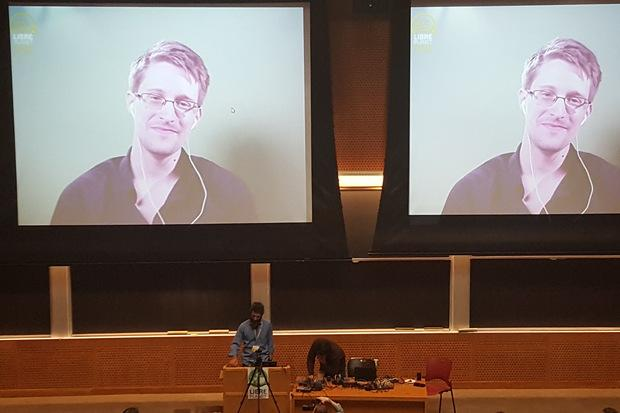 Edward Snowden addresses LibrePlanet via video conference Credit: Jon Gold/NetworkWorld