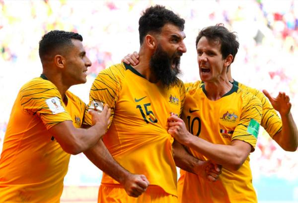 Socceroos' Mile Jedinak scores against France during the 2018 FIFA World Cup