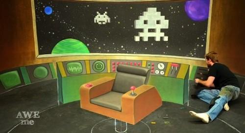 Space Invaders mingle with the USS Enterprise in this awesome 3D chalk art