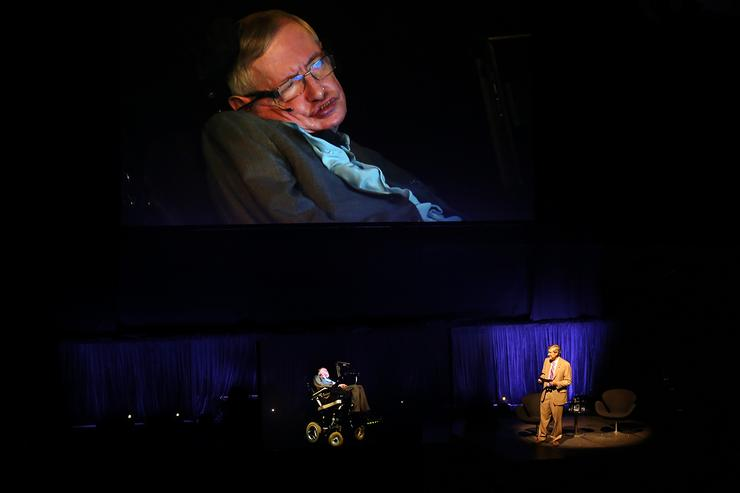 A hologram of Professor Stephen Hawking onstage at the Sydney Opera House
