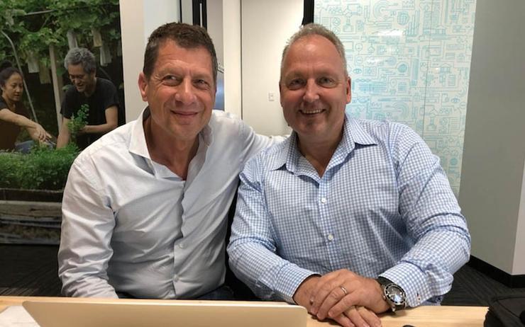 L-R: Xero's incoming CEO, Steve Vamos (L) and founding CEO, Rod Drury (Source - Xero)