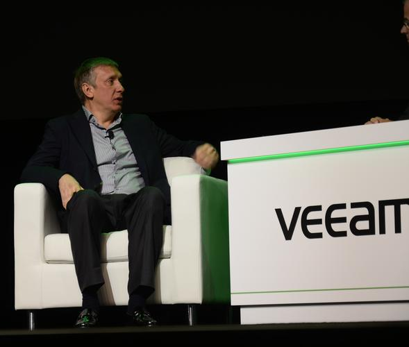 Veeam president and CEO, Ratmir Timashev, on stage at VeeamOn in Las Vegas