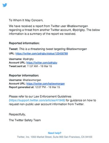The report summary includes the flagged tweet and the user name of who posted it, along with Twitter's law enforcement guidelines.