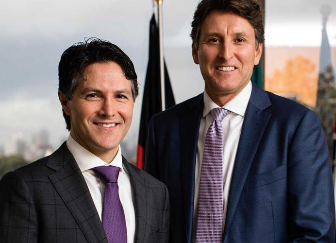 NSW Minister of Finance, Services and Property, Victor Dominello (L) and Microsoft Australia managing director Steven Worrall (R) - (Source: Microsoft)