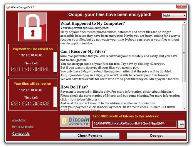 Ransom demand screen displayed by WannaCry/WannaCrypt. Image:  Symantec Security Response.