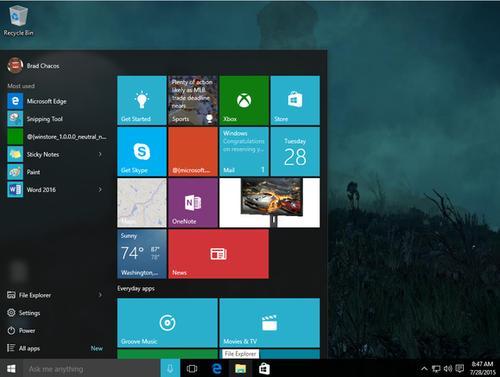 Windows 10's Start menu