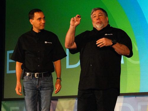 Primary Data CTO David Flynn, left, with Chief Scientist Steve Wozniak at Demo on Wednesday.