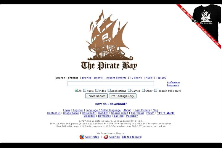 what happened to the pirate bay website
