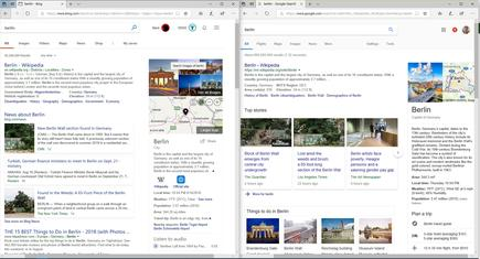 "I think Google's search (right) for ""Berlin"" is more comprehensive than Bing's (left), but man, those news cards are ugly (on both panes I've scrolled over to the right to include sidebar information)"