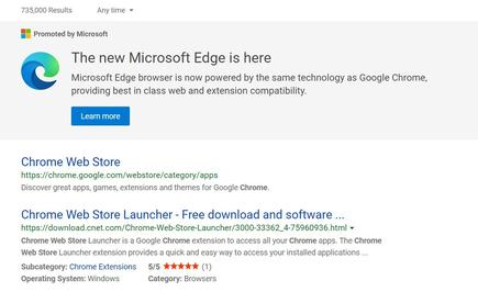 Microsoft then drops in another ad when you search from the Chrome Web Store—yes, even if you're searching from within the new Edge browser