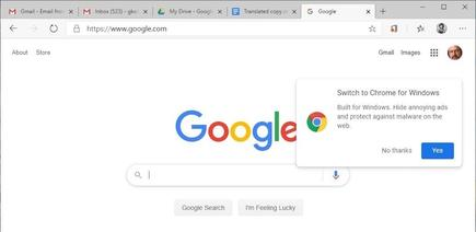 Even the Google search site pitches Chrome at Chromium-based Edge users