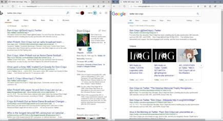 Bing offers up some inaccurate results, and generally ignores Twitter search. Google does a better job