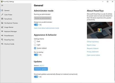 The General pane in PowerToys uses the cogwheel icon often associated with Settings in Windows 10