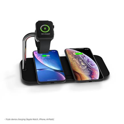A multi-device wireless charger from Holland-based Zens. Its Dual+Watch Fast Wireless Charger can charge two smartphones and an Apple Watch at the same time