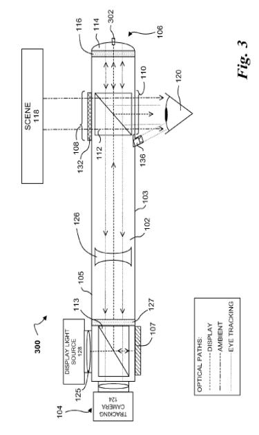 An image of a heads-up display system included in a patent filing by Google.