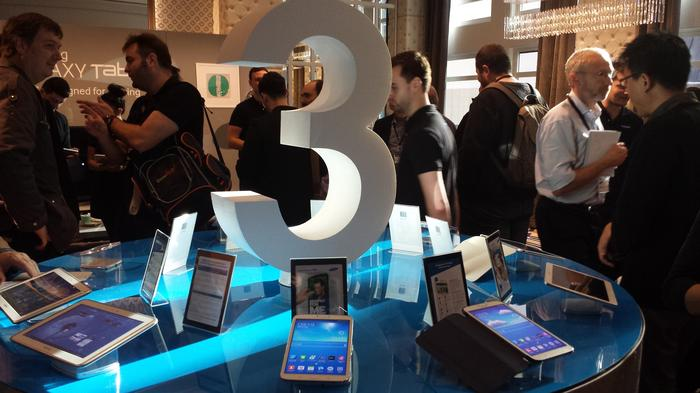 The Samsung Galaxy Tab 3 range, on display at Samsung's launch event in Sydney today.