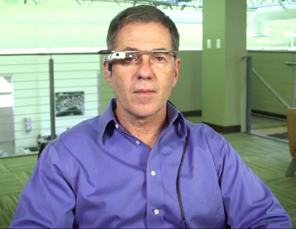 Eyefluence CEO Jim Marggraff sports a modified version of Google Glass that includes his company's eye-tracking technology.