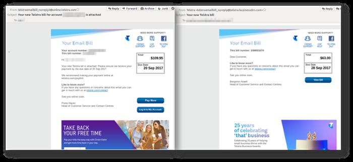 Side-by-side comparison screenshot (MailGuard)