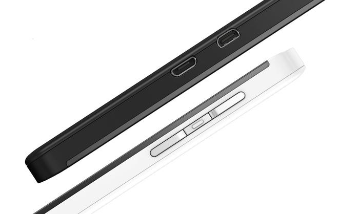 The BlackBerry Z10's mini-HDMI and standard micro-USB ports.