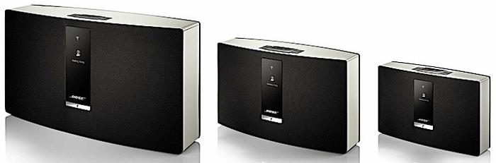 The Bose SoundTouch 30, SoundTouch 20, and SoundTouch Portable Wi-Fi music systems.