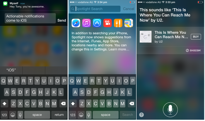 Actionable text messaging, Spotlight now searches the Internet and the App store, plus Siri can now recognise the name of songs