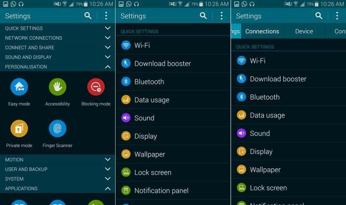 The Galaxy S5's menu systems: Grid, List, and Tab Views.