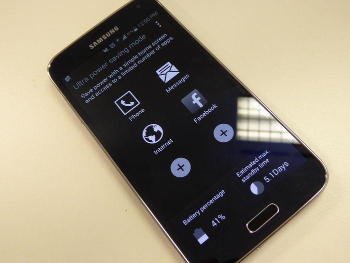 Ultra power saving mode on the Samsung Galaxy S5