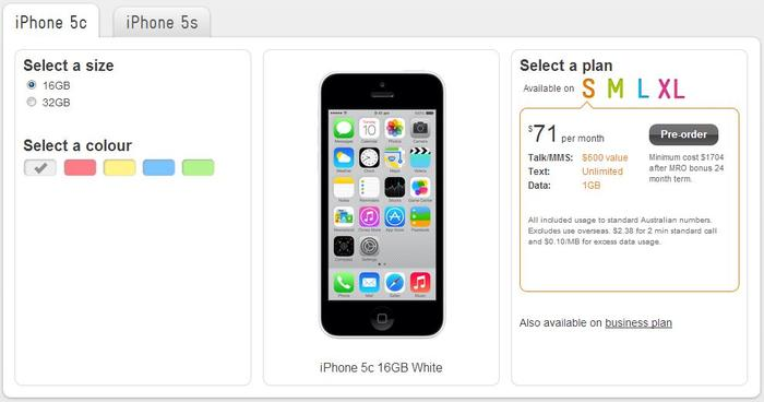 Telstra's cheapest plan for the iPhone 5c attracts an $11 monthly handset charge.