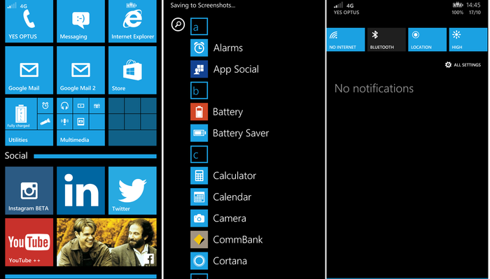 The Windows Phone 8.1 interface