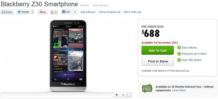 The BlackBerry Z30, as it appears on Harvey Norman's Web site.