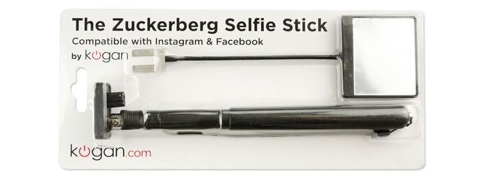 The Zuckerberg Selfie Stick in its packaging.