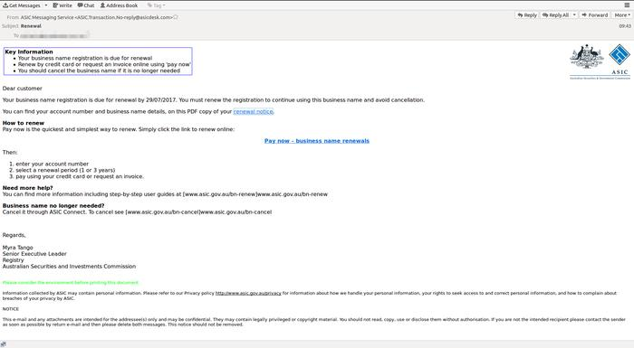 A sample of the dodgy email (MailGuard)