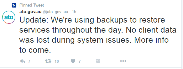 A Tweet from the ATO's official account regarding the outage