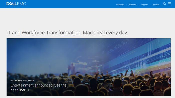 Dell EMC homepage in May 2019
