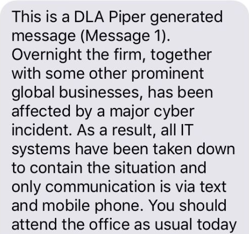 A text message sent to DLA Piper Australia staff this morning (Source: ABC)