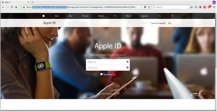 An example of the fake Apple-branded page (Source: MailGuard)