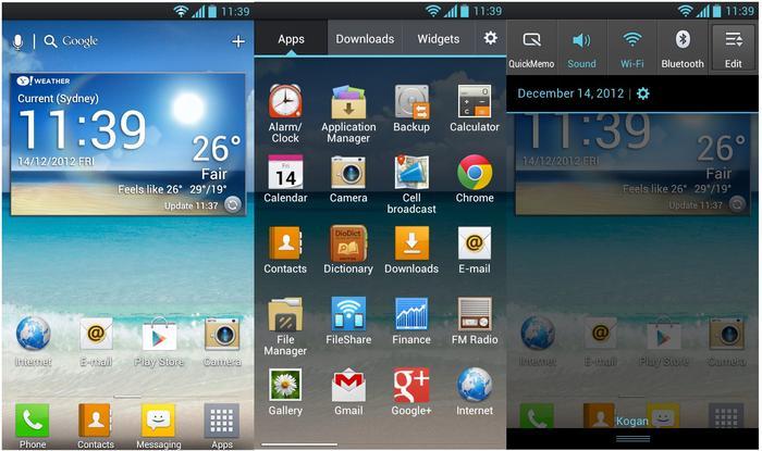 LG's UI overlay on the Optimus L9.